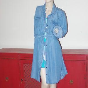 Denim Chambray Dress Jacket Duster Bohemian chic